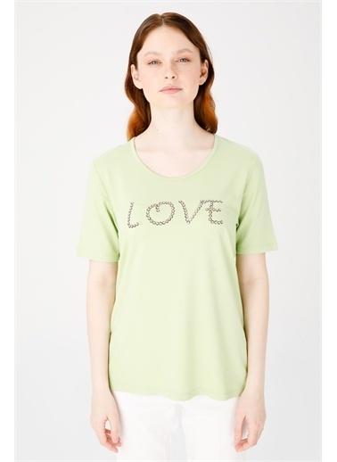 Desen Triko Tişört Yeşil